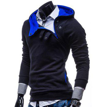 Fashion Color Block Zipper Design Hooded Long Sleeve Thicken Slimming Men's Polyester Hoodie - 3XL 3XL