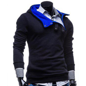 Fashion Color Block Zipper Design Hooded Long Sleeve Thicken Slimming Men's Polyester Hoodie - CADETBLUE 3XL