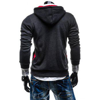Fashion Color Block Zipper Design Hooded Long Sleeve Thicken Slimming Men's Polyester Hoodie - XL XL