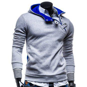 Fashion Color Block Zipper Design Hooded Long Sleeve Thicken Slimming Men's Polyester Hoodie - L L