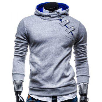 Fashion Color Block Zipper Design Hooded Long Sleeve Thicken Slimming Men's Polyester Hoodie - LIGHT GRAY L