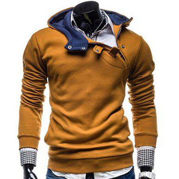 Fashion Color Block Zipper Design Hooded Long Sleeve Thicken Slimming Men's Polyester Hoodie - CAMEL 2XL