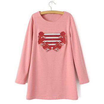 Jewel Neck Stripe Floral Embroidery Casual Style Long Sleeve Dress For Women - PINK PINK