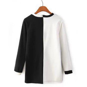 Casual Color Block Round Neck Long Sleeve T-Shirt For Women - S S