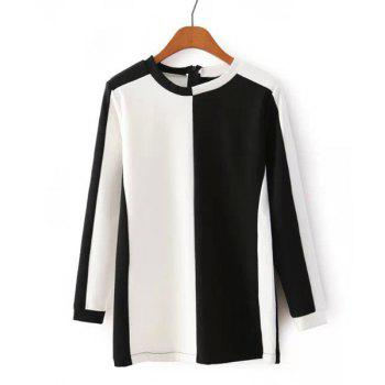 Casual Color Block Round Neck Long Sleeve T-Shirt For Women - WHITE AND BLACK S