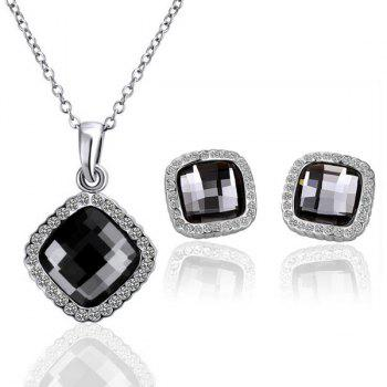 A Suit of Rhinestone Square Shape Necklace and Earrings