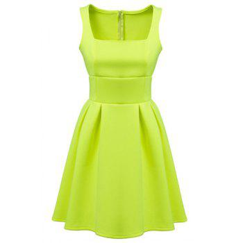 Ladylike Candy Color Square Collar Sleeveless Dress For Women