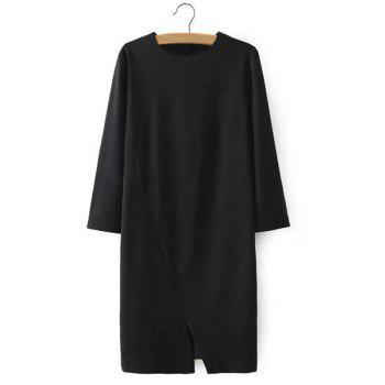 Round Neck Solid Color Slit Casual Style 3/4 Sleeve Dress For Women - BLACK BLACK
