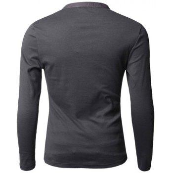 Fashion Button Design Fabric Splicing V-Neck Long Sleeve Slimming Men's Polyester Polo Shirt - M M