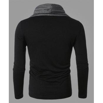 Fashion Color Block Personality Heaps Collar Slimming Long Sleeves Men's Cotton Blend T-Shirt - BLACK BLACK