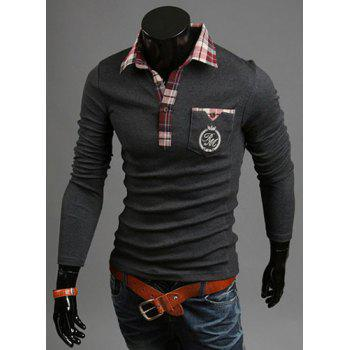 Fashion Pocket Design Plaid Splicing Shirt Collar Long Sleeve Slimming Men's Polyester Polo Shirt - DEEP GRAY DEEP GRAY