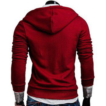 Fashion Oblique Zipper Design Hooded Long Sleeve Slimming Men's Polyester Hoodie - RED RED