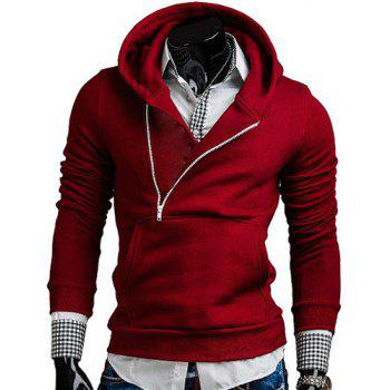 Stylish Hooded Slimming Oblique Zipper Design Long Sleeve Polyester Hoodie For Men