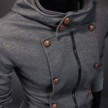 Casual Hooded Button Personality Embellished Slimming Solid Color Long Sleeves Men's Hoodie - DEEP GRAY DEEP GRAY