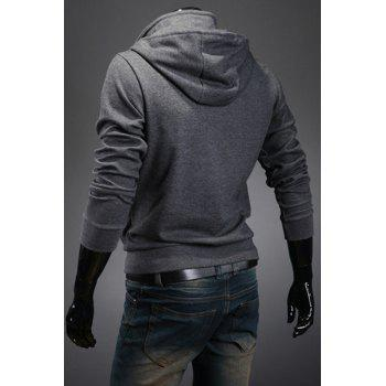 Casual Hooded Button Personality Embellished Slimming Solid Color Long Sleeves Men's Hoodie - M M
