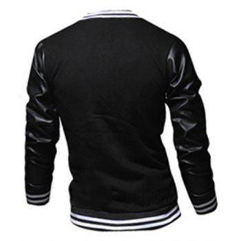 Fashion Color Block PU Leather Splicing Stand Collar Long Sleeve Slimming Men's Polyester Jacket - XL XL