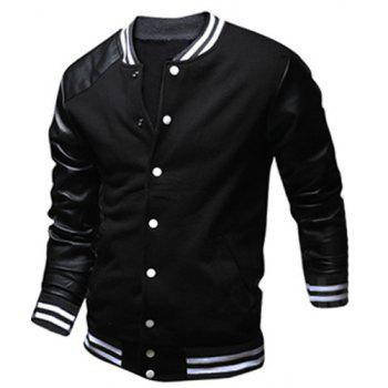 Buy Fashion Color Block PU Leather Splicing Stand Collar Long Sleeve Slimming Men's Polyester Jacket BLACK