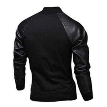 Fashion Pocket Design Fabric Splicing Stand Collar Long Sleeve Slimming Men's Polyester Jacket - M M