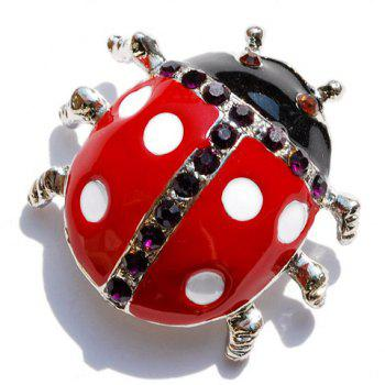 Ladybird Rhinestone Embellished Brooch - COLOR ASSORTED
