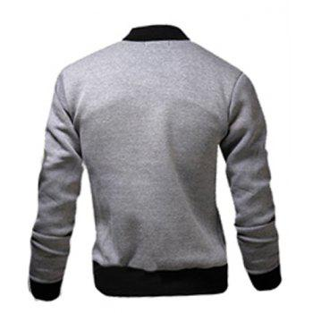 Fashion Color Block Rib Splicing Stand Collar Long Sleeve Slimming Men's Polyester Jacket - M M