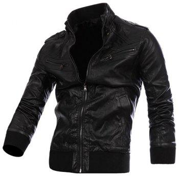 Fashion Epaulet Zipper Design Rib Splicing Stand Collar Long Sleeve Slimming Men's PU Leather Jacket - BLACK 2XL