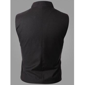 Trendy Stand Collar Personality Inclined Button Fly Slimming Sleeveless Men's Waistcoat - BLACK M