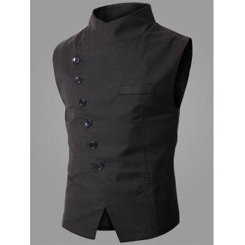 Trendy Stand Collar Personnalité Incliné Button Fly Slimming Gilet homme sans manches