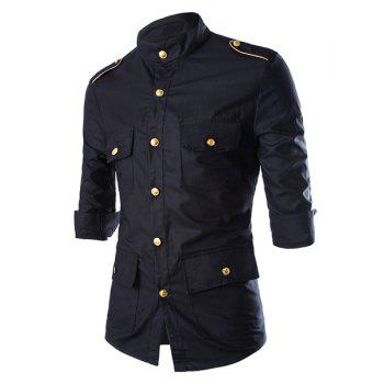 Fashion Multi-Pocket Epaulet Design Stand Collar Three-Quarter Sleeve Slimming Men's Polyester Shirt