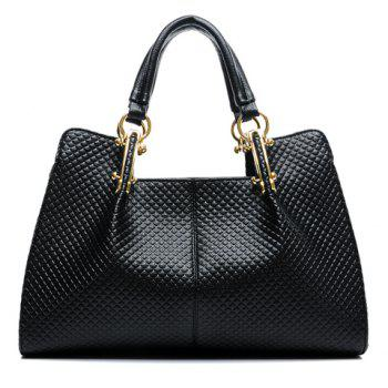 Elegant Checked and Metallic Design Tote Bag For Women