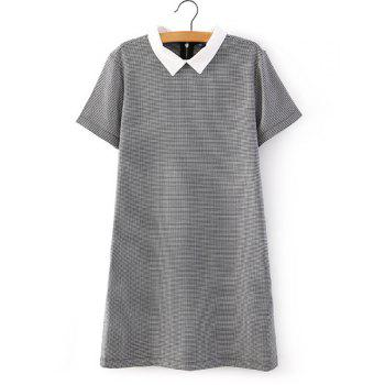 Polo Collar Houndstooth Fashionable Short Sleeve Dress For Women
