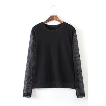 Jewel Neck Solid Color Mesh Splicing Casual Style Long Sleeve Sweatshirt For Women