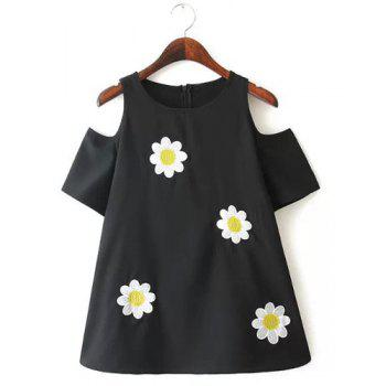 Jewel Neck Floral Embroidery Off-The-Shoulder Sweet Style Short Sleeve T-Shirt For Women - BLACK BLACK