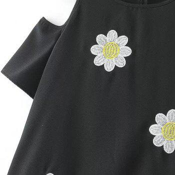 Jewel Neck Floral Embroidery Off-The-Shoulder Sweet Style Short Sleeve T-Shirt For Women - L L