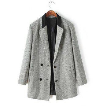 Style Lapel Ripple Buttons Sophisticated Long Sleeve Coat For Women