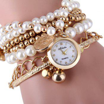 Ailisha Multilayer Quartz Chain Watch Beads Pendant Round Dial for Women