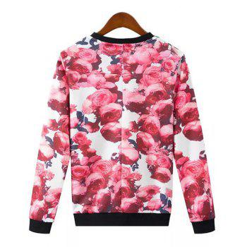 Sweet Rose Print Round Neck Long Sleeve Sweatshirt For Women - DEEP RED XL