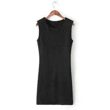 Jewel Neck Solid Color Zipper Sweet Style Sleeveless Dress For Women