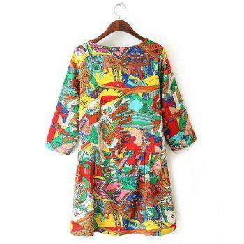 Jewel Neck Cartoon Print Casual Style 3/4 Sleeve Dress For Women - multicolorcolore M