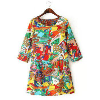 Jewel Neck Cartoon Print Casual Style 3/4 Sleeve Dress For Women - COLORMIX COLORMIX