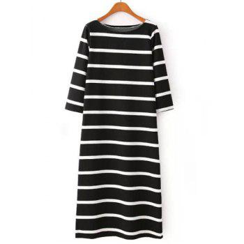 Jewel Neck Color Block Stripe Casual Style 3/4 Sleeve Dress For Women - WHITE AND BLACK M