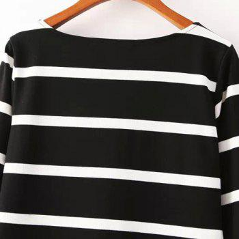 Jewel Neck Color Block Stripe Casual Style 3/4 Sleeve Dress For Women - M M