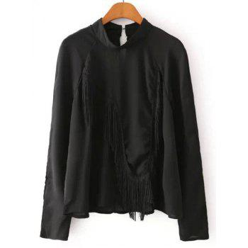 Round Neck Fringe Splicing Solid Color Casual Style Long Sleeve Shirt For Women