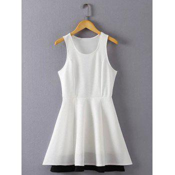 Sweet Solid Color Scoop Neck Sleeveless Dress For Women