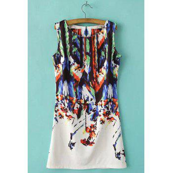 Refreshing Bamboo Print Round Collar Sleeveless Dress For Women