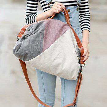 Fashionable Color Block and Canvas Design Tote Bag For Women - OFF WHITE