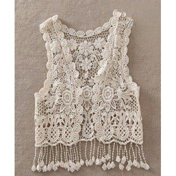 Sweet Women's V-Neck Sleeveless Hollow Out Lace Capelet