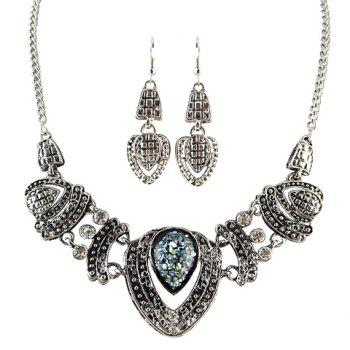 A Suit of Rhinestone Drip Pendant Necklace and Earrings