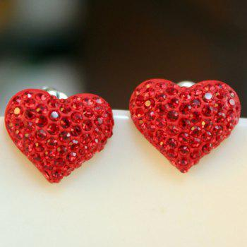 Pair of Sweet Cute Women's Rhinestone Decorated Heart Shape Earrings