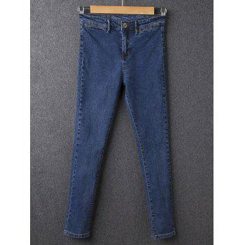 Simple Stretchy Button Fly Jeans For Women - DEEP BLUE 27