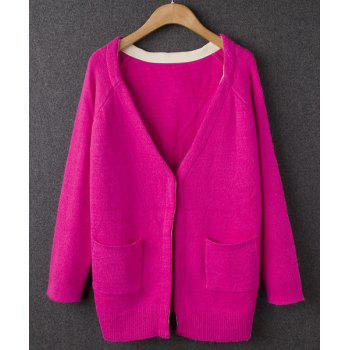Ladylike Plunging Neck Candy Color Double Pockets Long Sleeve Cardigan For Women